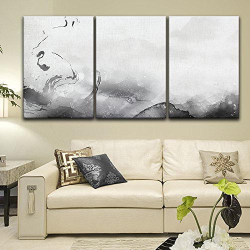 wall26-3 Panel Canvas Wall Art - Chinese Ink Painting Style Abstract Ink Splash - Giclee Print Gallery Wrap Modern Home Decor Ready to Hang - 16