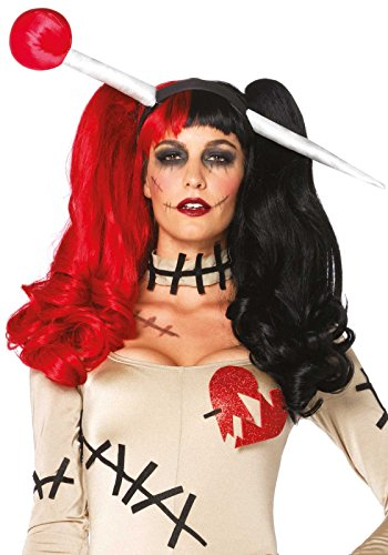 [Leg Avenue Women's Harlequin Wig with Clip-On Pony Tails and Adjustable Strap, Black/Red, One Size] (Women's Clown Wig)
