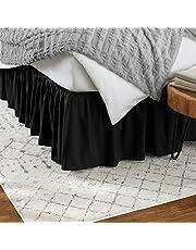 AmazonBasics Ruffled Bed Skirt, 16 Inch Skirt Length, Queen, Black