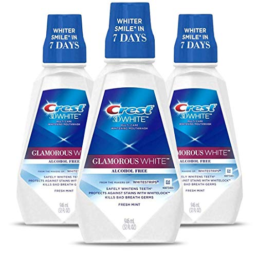 Crest 3D White Luxe Glamorous White Multi-Care Whitening Fresh Mint Flavor Mouthwash, Pack of 3 ()