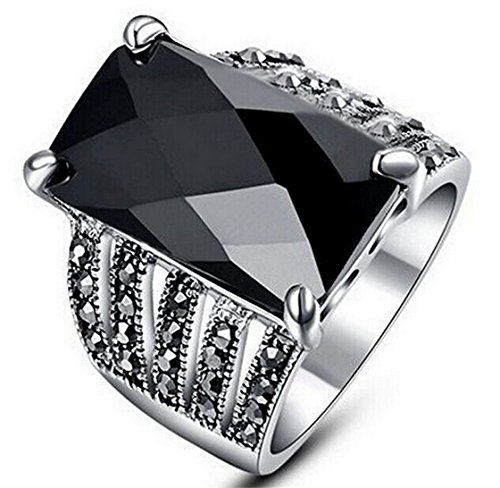 PSRINGS Retro Antique Rings With Black Square Glass Stone Crystals White Gold Plated Rings - Friday Square Emerald Mall Black