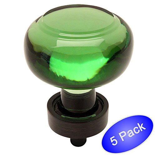 - 5 Pack - Cosmas 6355ORB-EM Oil Rubbed Bronze Cabinet Hardware Round Knob with Emerald Green Glass - 1-3/8