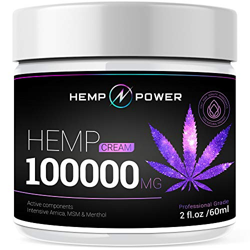 Hemp Power Pain Relief Cream -  Relieves Muscle, Joint Pain, Lower Back Pain, Knees, and Fingers - Inflammation - Hemp Extract R