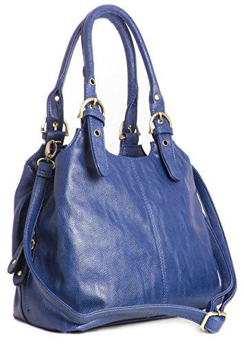 BHBS Bolso Mediano para Dama con Correa Larga para Hombro 33x26x13 cm (LxAxP) Azul - Elektro Blau