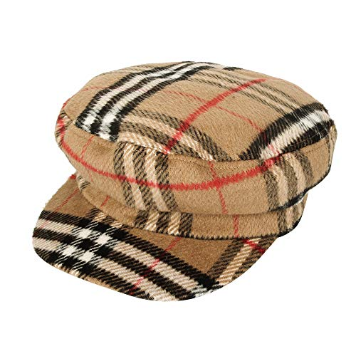 WITHMOONS Newsboy Hat Tartan Check Pattern British Beret Cap ACG1096 (Beige)