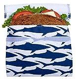 Lunchskins Reusable Sandwich Bag, Navy Blue Shark