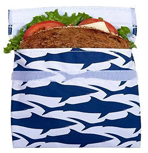 Lunchskins Reusable Velcro Sandwich Bag, Navy Blue Shark