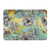 "KESS InHouse Zara Martina Mansen ""Mint Gold Garden"" Green Gray Memory Foam Bath Mat, 17 by 24-Inch, 17"" X 24"""""