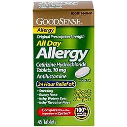GoodSense All Day Allergy, Cetirizine HCl Tablets, 10 mg Antihistamine, 45 Count