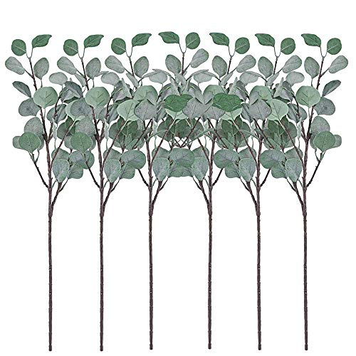 Kimily Artificial Silver Dollar Eucalyptus Leaf Spray 6 Pcs Eucalyptus Artificial Greenery Stems Plastic Plants Silk Greenery Bushes Floral Greenery Stems for Home Wedding Party Decoration
