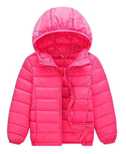 Kids Down Coat Girl Windproof Front-Zip Down Coats Lightweight Hoodie Outdoor Outerwear 6-8T - Rose