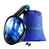WONICE Snorkel Mask Full Face for Adults and Kids,Dry Top System Safe Breathing,180°Panoramic View Anti-Fog Anti-Leak,with Camera Mount Snorkeling & Swimming Mask
