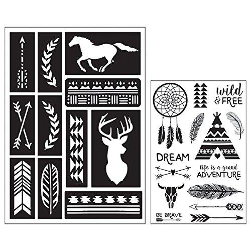 Art-C 28835 Southwestern Stamp & Adhesive Stencil (Feather Stencil)