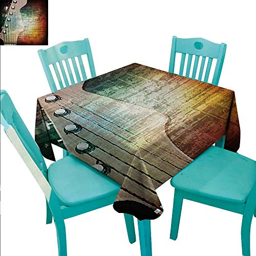 Giraffe Head Peg - Guitar Elegance Engineered Christmas Tablecloth Abstract Grunge Retro Background with Headstock and Tuning Pegs Blues Jazz Musician for Kitchen Dinning Tabletop Decoration 70