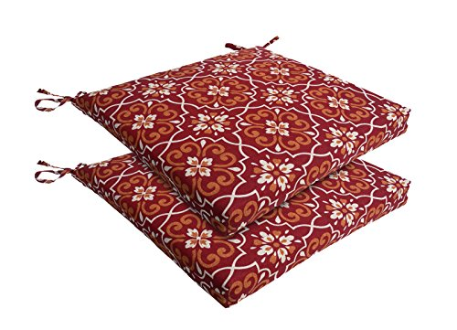 Bossima Indoor/Outdoor Red Damask Seat Pad, Set of 2, Seasonal Replacement Chair Cushions
