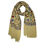Mogul Women Cashmere Scarves Stole Woolen Crewel Floral Ari Embroidered Wrap Shawl Gift For Her (Yellow-1)