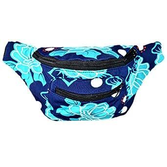 Santa Playa Floral Fanny Pack, Stylish Party Boho Chic Handmade with Hidden Pocket (Blue Malibu)