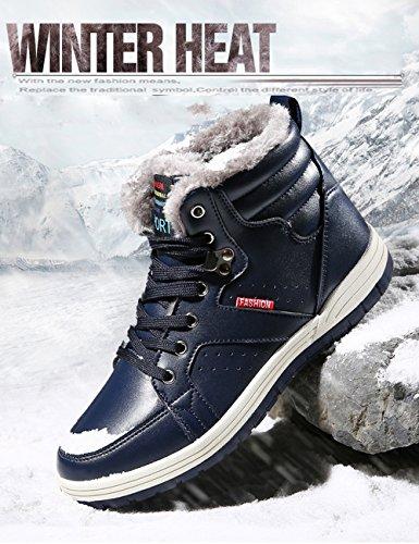 Sanbang Hombres Pu Leather Snow Botas Con TotalHombreste De Piel Casual Zapatillas De Tobillo Para El Esquí Al Aire Libre Conducción Walking Blue