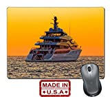 "Liili Natural Rubber Mouse Pad/Mat with Stitched Edges 9.8"" x 7.9"" IMAGE ID: 15488764 Luxury yacht on open sea at golden sunset"
