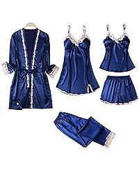 Chinashow Set of 5 Womens Satin Pajamas Set Sexy Ice Silk Suit Set Sleepwear/Nightwear Clothes, Navy Blue #B