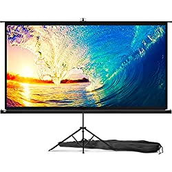 Portable Projector Screen with Stand 100 inch - Indoor and Outdoor Movie Screen for Cinema and Office Presentation - 16:9 HD Video Projection Diagonal for Home with Premium Wrinkle-Free Tripod Screen