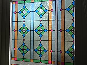sparkling milano stained glass static cling decorative window film 35 in by 1 foot sold in one continuous roll by the foot - Decorative Window Film Stained Glass