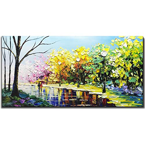Desihum Hand-Painted Oil Painting Landscape Artwork Modern Abstract Wall Art On Canvas Framed Paintings for Living Room Bedroom 24x48inch