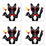 Lunarable Funny Coaster Set of Four, French Bulldog Holding Martini Cocktail Ready for the Party Nightlife Joy Print, Square Hardboard Gloss Coasters for Drinks, Black Red White