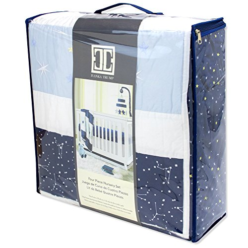 Ivanka Trump Stargazer Collection: 4pc Nursery Bedding Baby Crib Bedding Set – Blue Stars Galaxy Crib Bedding with Blue Plush Bear
