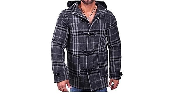 Baxboy AKS Hombre Otoño Chaqueta Abrigo de Invierno para & Trenchcoat Cuadros Abrigo Corto Gris 943: Amazon.es: Ropa y accesorios