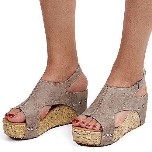 - Athlefit Women's Cutout Belt Wedges Sandals Platform Faux Leather Cork High Heels Size 6 Khaki Gladiator