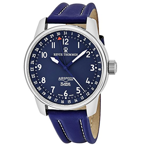 Revue Thommen Men's Airspeed XL 41mm Blue Leather Band Steel Case Automatic Analog Watch 16050.2535