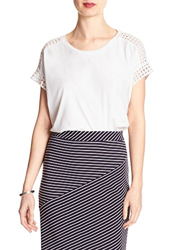 Banana Republic women's Crochet-Sleeve Top relaxed fit White Size