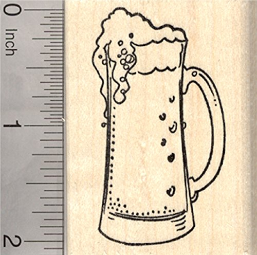 Beer Rubber Stamp, Tall Glass of ale, lager, or brew
