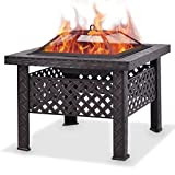 Giantex 26″ Outdoor Metal Firepit Backyard Patio Garden Square Stove Fire Pit With Poker (Square) Review