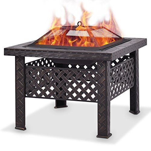 Giantex 26'' Outdoor Metal Firepit Backyard Patio Garden Square Stove Fire Pit With Poker (Square) by Giantex