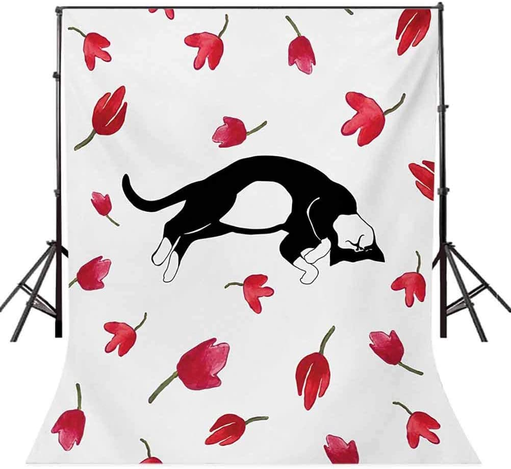 Modern 10x12 FT Photo Backdrops,Cute Kitty Sleeping Surrounded by Tulips Cat Animal Pet Lovely Creature Print Background for Photography Kids Adult Photo Booth Video Shoot Vinyl Studio Props