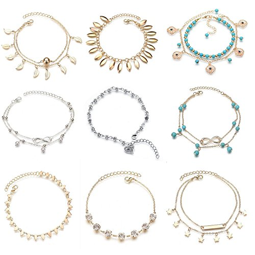 MarJunSep Set of 9, Turquoise Barefoot Sandal Silver Gold Anklet Chain Foot Bracelet Sandal Beach Foot Jewelry