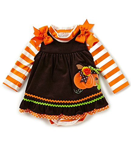 Rare Editions Baby Girls Pumpkin Jumper and Striped Bodysuit Set (24 Months)