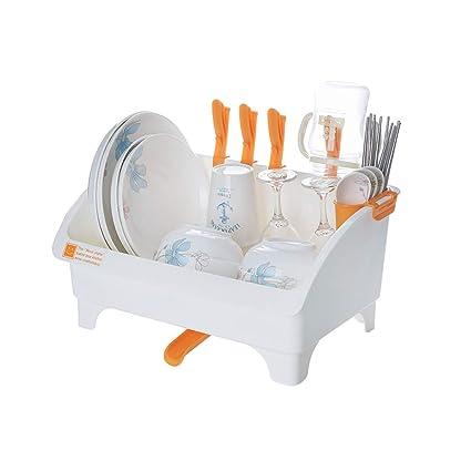 Fmn Drenaje Rack Dish Rack Bandeja de Fugas de Agua Plastic White Estante de vajilla Cesta