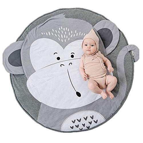 (Abreeze Cotton Baby Crawling Mat Game Blanket Floor Playmats Round Carpet with Cute Monkey Shape Kids' Room Decor Grey)