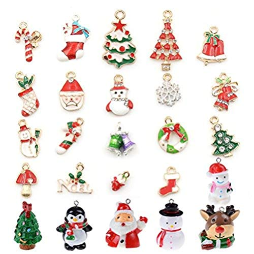Christmas Necklace Craft - Christmas Pendants Charms for Bracelet Necklace Jewelry Making, Birthday, Christmas Day, Thanksgiving Day Gift for Children, Pack of 25 (Style 1)