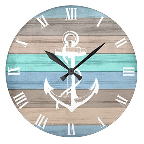 Antique Round Wood Clock For Bedroom Rustic Beach Wood Nautical Stripes Anchor Wall Clock Art Decorative For Kids Room 12 Inch Clock (Anchor Clock)