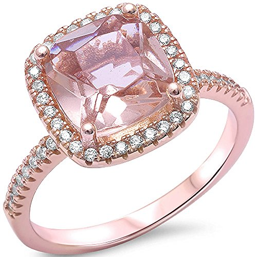 Cushion Cut Simulated Morganite   Cubic Zirconia  925 Sterling Silver Ring Size 9