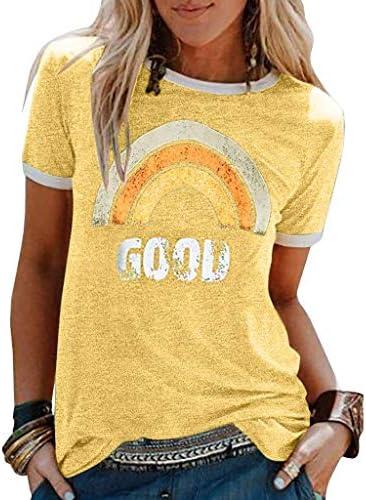 Yesgirl Mujer Good Vibes Camisa Manga Corta Arcoiris Impresión de Talla Adolescentes Blusa Camisa Cuello Redondo Basica Camiseta Suelto Verano Tops Casual Fiesta T-Shirt: Amazon.es: Ropa y accesorios