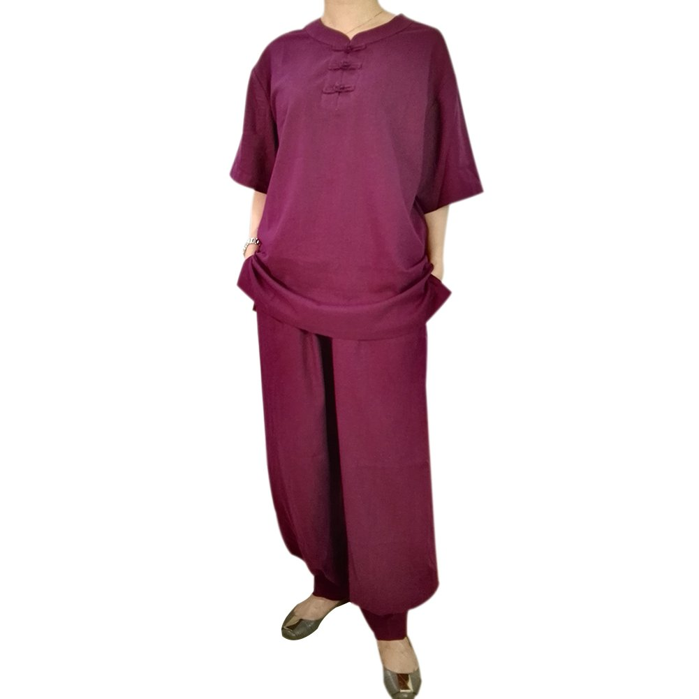 2631b5a34 Amazon.com : BlueSkyDeer Women's Meditation Clothing Tai Chi Uniform Kung  Fu Outfit Short Sleeve Can Be Customized Purple : Sports & Outdoors