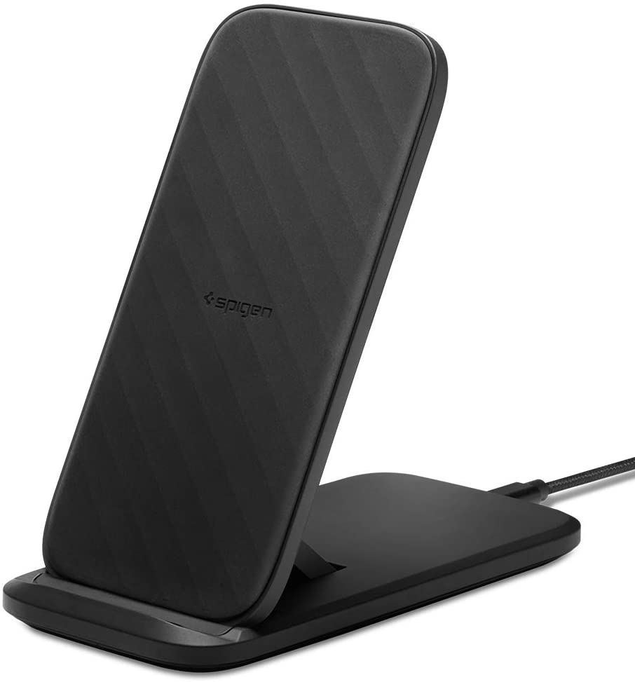 Spigen SteadiBoost Flex Convertible Fast Wireless Charger Stand 7.5/10/15W Works with Galaxy S20/S20+/Ultra/Z Flip, S10, Note 10 iPhone SE(2020) 11/11...