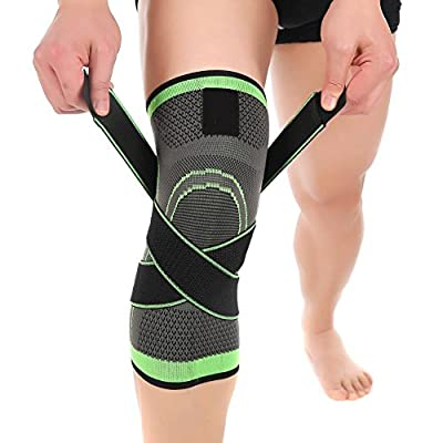 Knee Brace, Compression Knee Sleeve with Adjustable Strap for Pain Relief, Meniscus Tear, Arthritis, ACL, MCL, Quick Recovery - Knee Support for Running, Basketball, CrossFit by Vitoki (Single)