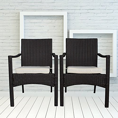Outdoor Indoor Dining Chairs Match Dining Tables Patio Rattan Chair Wicker Garden Chairs Set of 2 (Brown)