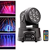 U'King Moving Head Stage Light, 7x10W RGBW LED with Auto/Remote/DMX512 Control Modes for DJ Disco Bar Party Ballroom Halloween Christmas (with remote control)
